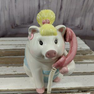Mud pie girl pig on phone 2001 piggy bank
